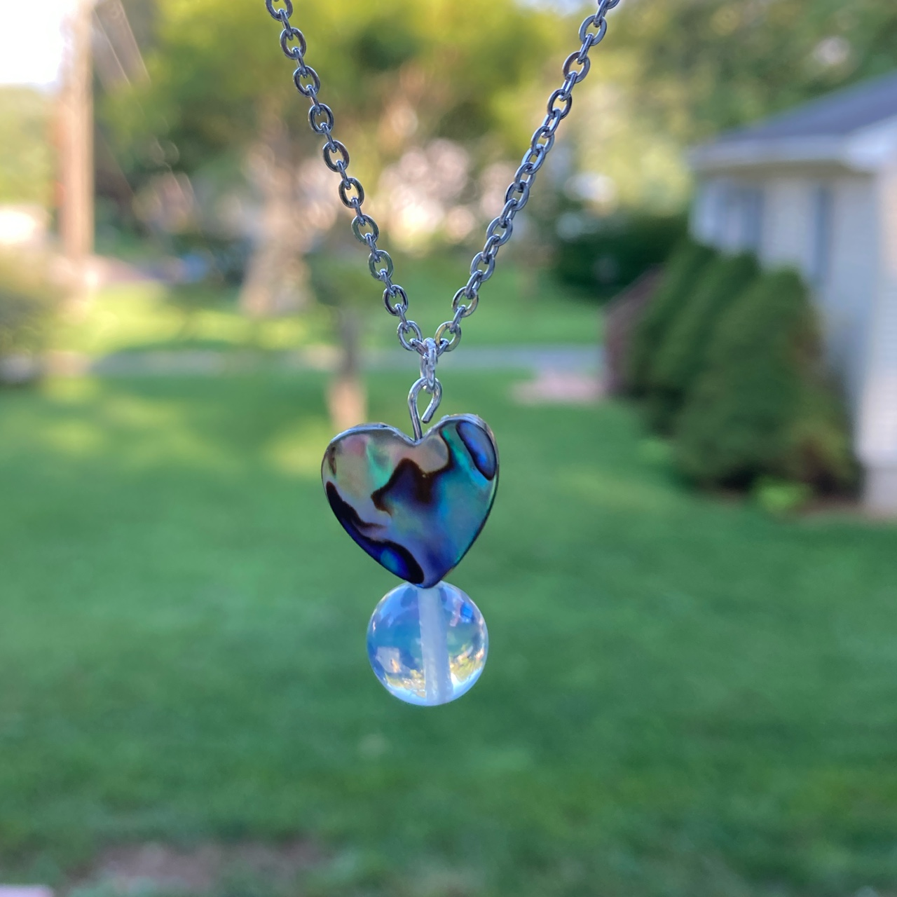 Product Image 1 - ABALONE SHELL HEART AND MOONSTONE/OPALITE