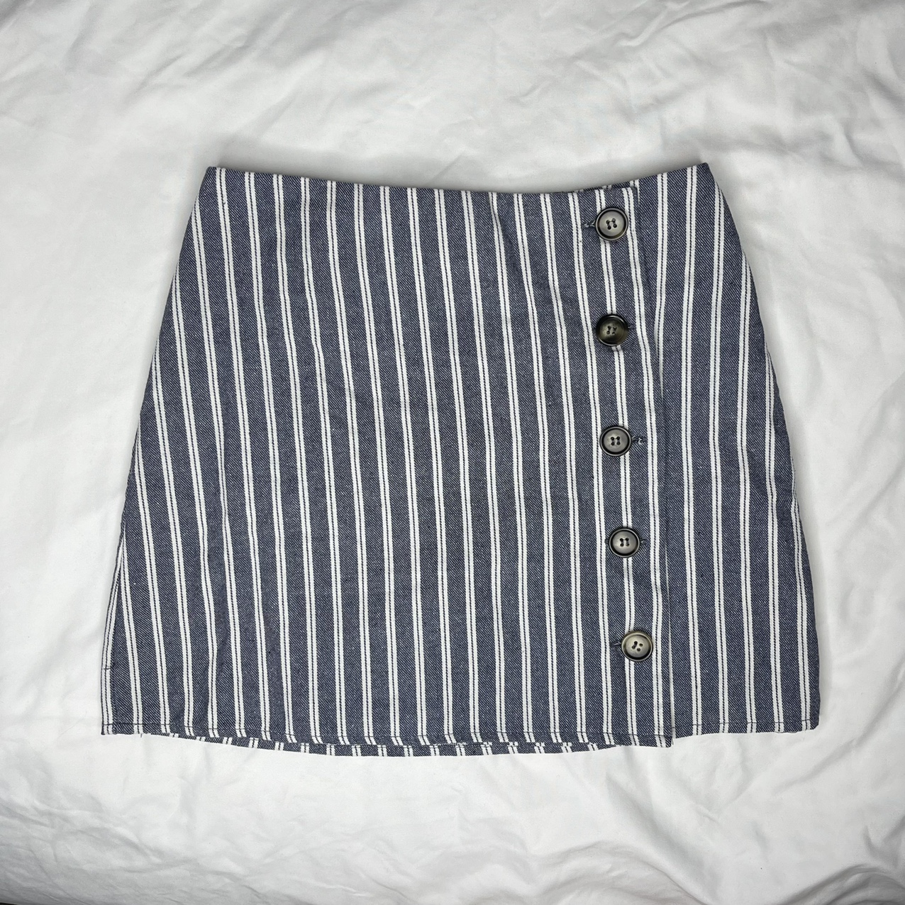 Product Image 1 - tilly's striped jean mini skirt  Blue